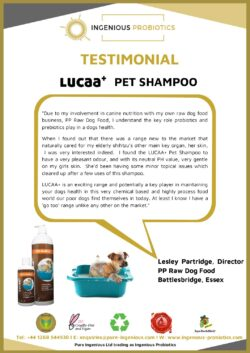 LUCAA+ Probiotic Pet Shampoo - Testimonial