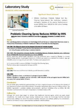 DENAA+ Probiotic Cleaning Spray Reduces MRSA - Case Study