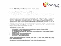 ANNAA+ The Use of Probiotic Group Products in Swiss Poultry Farms